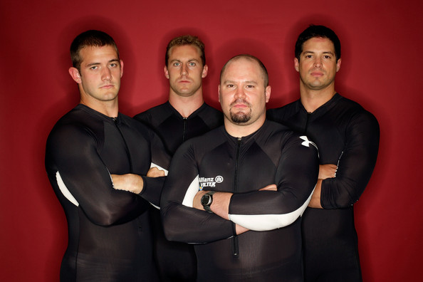 Justin Olsen Four man bobsled team members (L-R) Justin Olsen, Curtis Tomasevicz, Steve Holcomb and Steve Mesler pose for a portrait during Day Two of the 2010 U.S. Olympic Team Media Summit at the Palmer House Hilton on September 11, 2009 in Chicago, Illinois.