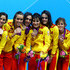 Clara Basiana Canellas Photos - Bronze medallists Spain pose on the podium during the medal ceremony for the Women's Teams Synchronised Swimming Free Routine final on Day 14 of the London 2012 Olympic Games at the Aquatics Centre on August 10, 2012 in London, England. - Clara Basiana Canellas Photos - 8 of 34