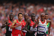 Isiah Kiplangat Koech of Kenya, Abdalaati Iguider of Morocco, Bernard Lagat of the United States, Thomas Pkemei Longosiwa of Kenya and Mohamed Farah of Great Britain competes in the Men's 5000m Final on Day 15 of the London 2012 Olympic Games at Olympic Stadium on August 11, 2012 in London, England.