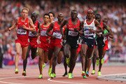 Galen Rupp of the United States, Abdalaati Iguider of Morocco, Bernard Lagat of the United States, Isiah Kiplangat Koech of Kenya and Mohamed Farah of Great Britain competes in the Men's 5000m Final on Day 15 of the London 2012 Olympic Games at Olympic Stadium on August 11, 2012 in London, England.