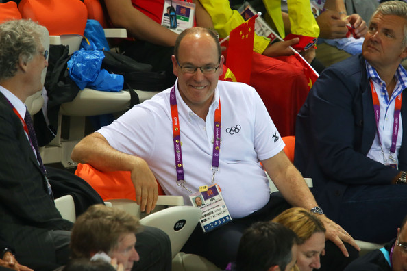 Prince Albert II (C) of Monaco attends the night session of swimming on Day 5 of the London 2012 Olympic Games at the Aquatics Centre on August 1, 2012 in London, England.