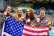 (L-R) Allison Schmitt, Dana Vollmer, Shannon Vreeland and Missy Franklin of the United States pose with their medals following the medal ceremony for the Women's 4x200m Freestyle Relay on Day 5 of the London 2012 Olympic Games at the Aquatics Centre on August 1, 2012 in London, England.