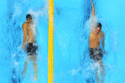((L-R)  Michael Phelps of the United States and Ryan Lochte of the United States compete in the first semifinal heat of the Men's 200m Individual Medley on Day 5 of the London 2012 Olympic Games at the Aquatics Centre on August 1, 2012 in London, England.
