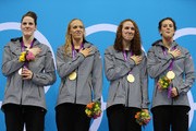 (L-R) Missy Franklin, Dana Vollmer, Shannon Vreeland, and Allison Schmitt of the United States stand on the podim during the medal ceremony for the Women's 4x200m Freestyle Relay on Day 5 of the London 2012 Olympic Games at the Aquatics Centre on August 1, 2012 in London, England.