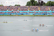 Gold medalists New Zealand lead silver medalists Italy and bronze medalists Slovenia in the Men's Double Sculls final on Day 6 of the London 2012 Olympic Games at Eton Dorney on August 2, 2012 in Windsor, England.