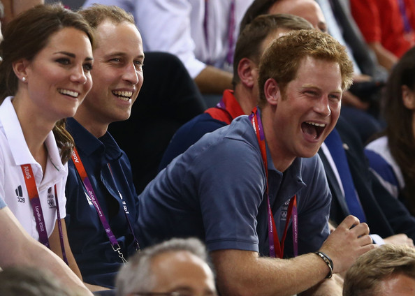 (L-R) Catherine, Duchess of Cambridge, Prince William, Duke of Cambridge and Prince Harry laugh as they watch the track cycling on Day 6 of the London 2012 Olympic Games at Velodrome on August 2, 2012 in London, England.