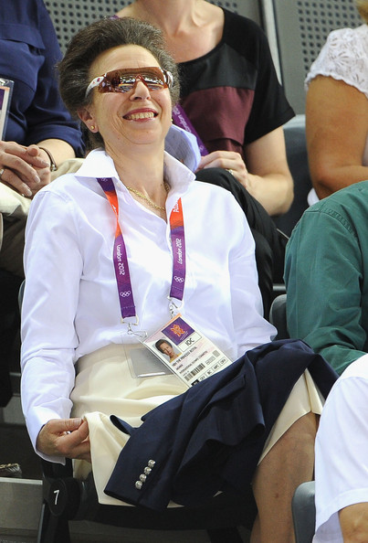 Princess Anne, Princess Royal smiles during Day 6 of the London 2012 Olympic Games at Velodrome on August 2, 2012 in London, England.