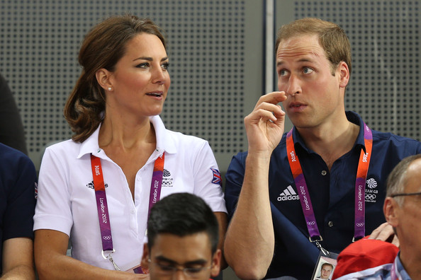Catherine, Duchess of Cambridge and Prince William, Duke of Cambridge watch the track cycling on Day 6 of the London 2012 Olympic Games at Velodrome on August 2, 2012 in London, England.