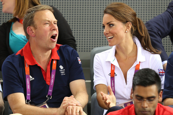 Catherine, Duchess of Cambridge speaks with Andy Hunt, Chef de Mission for Great Britain as they watch the track cycling on Day 6 of the London 2012 Olympic Games at Velodrome on August 2, 2012 in London, England.