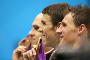 Gold medallist Michael Phelps of the United States, Silver medallist Ryan Lochte of the United States and bronze medallist Laszlo Cseh  pose with the medals won in the Men's 200m Individual Medley final on Day 6 nof the London 2012 Olympic Games at the Aquatics Centre on August 2, 2012 in London, England.