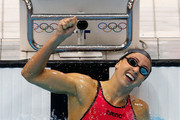 Rebecca Soni of the United States celebrates after winning gold and setting a new world record time of 2:19.59 in the Women's 200m Breaststroke Final on Day 6 of the London 2012 Olympic Games at the Aquatics Centre on August 2, 2012 in London, England.