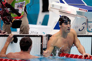 Gold medallist Michael Phelps (R) of the United States shakes hands with silver medallist Ryan Lochte (L) of the United States following the Men's 200m Individual Medley final on Day 6 of the London 2012 Olympic Games at the Aquatics Centre on August 2, 2012 in London, England.