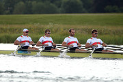 Karl Schulze, Phillipp Wende, Lauritz Schoof and Tim Grohmann of Germany compete in the Men's Quadruple Sculls final on Day 7 of the London 2012 Olympic Games at Eton Dorney on August 3, 2012 in Windsor, England.