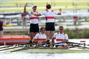 Karl Schulze, Phillipp Wende, Lauritz Schoof and Tim Grohmann of Germany celebrate winning gold in the Men's Quadruple Sculls final on Day 7 of the London 2012 Olympic Games at Eton Dorney on August 3, 2012 in Windsor, England.