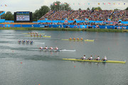 Tim Grohmann, Lauritz Schoof, Phillipp Wende and Karl Schulze of Germany lead the Croatia and Australia teams on their way to winning gold in the Men's Quadruple Sculls final on Day 7 of the London 2012 Olympic Games at Eton Dorney on August 3, 2012 in Windsor, England.