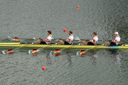 Tim Grohmann, Lauritz Schoof, Phillipp Wende and Karl Schulze of Germany compete in the Men's Quadruple Sculls final on Day 7 of the London 2012 Olympic Games at Eton Dorney on August 3, 2012 in Windsor, England.
