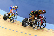 Azizulhasni Awang (C) of Malaysia wins ahead of Hersony Canelon (L) of Venezuela, and Seiichiro Nakagawa of Japan (R)  in the Men's Sprint Track Cycling 1/8 Final Repechages on Day 8 of the London 2012 Olympic Games at Velodrome on August 4, 2012 in London, England.