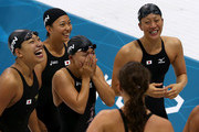 (L to R) Haruka Ueda, Satomi Suzuki, Yuka Kato and Aya Terakawa of Japan celebrate winning the bronze medal in the Women's 4x100m Medley Relay Final on Day 8 of the London 2012 Olympic Games at the Aquatics Centre on August 4, 2012 in London, England.