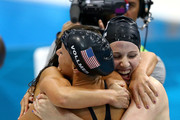 Dana Vollmer, Missy Franklin, and Rebecca Soni of the United States celebrate winning the Women's 4x100m Medley Relay on Day 8 of the London 2012 Olympic Games at the Aquatics Centre on August 4, 2012 in London, England.