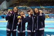 Bronze medallists Aya Terakawa, Satomi Suzuki,  Yuka Kato, and Haruka Ueda of Japan pose following the medal ceremony for the Women's 4x100m medley Relay Final on Day 8 of the London 2012 Olympic Games at the Aquatics Centre on August 4, 2012 in London, England.