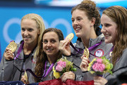 Gold medallists (L-R) Dana Volmer, Rebecca Soni, Allison Schmitt and Missy Franklin of the United States pose on the podium during the medal ceremony for the Women's 4x100m medley Relay Final on Day 8 of the London 2012 Olympic Games at the Aquatics Centre on August 4, 2012 in London, England.
