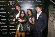 "(l-r) Stephan Luca, Fernanda Brandao, Milka Loff Fernandes and Akihiko Murata (General Manager Olympus Consumer Products Central Europe) attend opening of ""Olympus OM-D: Photography Playground"" on March 6, 2014 in Hamburg, Germany."