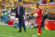 Oman head coach Paul Le Guen talks to his team during the 2015 Asian Cup match between Oman and Australia at ANZ Stadium on January 13, 2015 in Sydney, Australia.