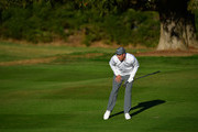 Ross Fisher of England watches a shot during the third round of The Omega European Masters at Crans-sur-Sierre Golf Club on September 8, 2018 in Crans-Montana, Switzerland.