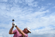 Lee Westwood of England plays a shot during the pro-am prior to the start of the Omega European Masters at Crans Montana Golf Club on August 28, 2019 in Crans-Montana, Switzerland.