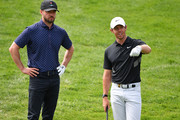 Singer Justin Timberlake of USA and Rory McIlroy of Northern Ireland during the pro-am prior to the start of the Omega European Masters at Crans Montana Golf Club on August 28, 2019 in Crans-Montana, Switzerland.