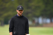 Justin Timberlake and Rory McIlroy line up a putt during the Pro - Am prior to the start of the Omega European Masters at Crans-sur-Sierre Golf Club on August 28, 2019 in Crans-Montana, Switzerland.