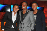 Jermaine Jackson (C) and his sons  Jermajesty Jackson and Jaafar Jackson attend the US launch of 'Planet Ocean' presented by Omega Watches at Pacific Design Center on April 18, 2013 in West Hollywood, California.