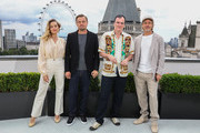 (L-R)  Margot Robbie, Leonardo DiCaprio, Quentin Tarantino and Brad Pitt attend the 'Once Upon A Time In Hollywood' Photocall in London at The Corinthia Hotel on July 31, 2019 in London, England.