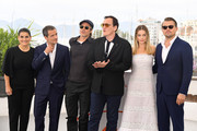 """(R-L) Leonardo DiCaprio, Margot Robbie, Quentin Tarantino, Brad Pitt, David Heyman and Shannon McIntosh attend thephotocall for """"Once Upon A Time In Hollywood""""  during the 72nd annual Cannes Film Festival on May 22, 2019 in Cannes, France."""