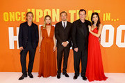 (L-R) Brad Pitt, Margot Robbie, Leonardo DiCaprio, Quentin Tarantino and Daniela Tarantino attend the UK Premiere of Once Upon A Time...In Hollywood at Odeon Luxe Leicester Square on July 30, 2019 in London, England.