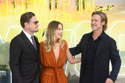 "Leonardo DiCaprio, Margot Robbie and Brad Pitt attend the ""Once Upon a Time... in Hollywood"" UK Premiere at the Odeon Luxe Leicester Square on July 30, 2019 in London, England."