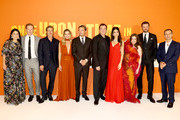 (L-R) Shannon McIntosh, Damian Lewis, Brad Pitt, Margot Robbie, Leonardo DiCaprio, Quentin Tarantino, Daniela  Tarantino, Lena Dunham, Costa Ronin and David Heyman attend the UK Premiere of Once Upon A Time...In Hollywood at Odeon Luxe Leicester Square on July 30, 2019 in London, England.