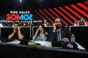 "In this handout photo provided by One Voice: Somos Live!, (L-R) Actors Wilmer Valderrama, Victoria Justice, and Jimmy Smits participate in the phone bank onstage during ""One Voice: Somos Live! A Concert For Disaster Relief"" at the Universal Studios Lot on October 14, 2017 in Los Angeles, California."