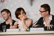 (L-R) Actor Matthew Newman, actress Kristin Scott Thomas and director Nicolas Winding Refn attend the 'Only God Forgives' Press Conference during the 66th Annual Cannes Film Festival on May 22, 2013 in Cannes, France.