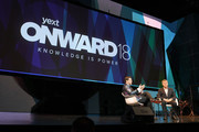Yext Founder and CEO Howard Lerman and CEO, DexYP, parent company of Thryv, Joe Walsh speak onstage during the Onward18 Conference - Day 1 on October 23, 2018 in New York City.