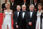 Jury Member Uma Thurman, Cannes Film Festival President Gilles Jacob, Francois Mitterrand, Jury President Robert De Niro and Jury Member Martina Gusman attend the Opening Ceremony at the Palais des Festivals during the 64th Cannes Film Festival on May 11, 2011 in Cannes, France.