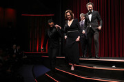 """(L-R) Yanic Truesdale, Sigourney Weaver, director Philippe Falardeau and Artistic Director of Berlinale Carlo Chatrian get off stage at the opening ceremony and """"My Salinger Year"""" premiere during the 70th Berlinale International Film Festival Berlin at Berlinale Palace on February 20, 2020 in Berlin, Germany."""