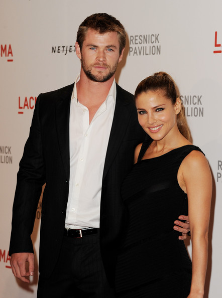 "Actors Chris Hemsworth (L) and Elsa Pataky arrive at the opening Gala and ""Unmasking"" for the Resnick Pavilion at LACMA on September 25, 2010 in Los Angeles, California."