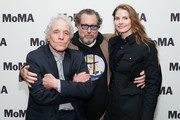 """(L-R) Filmmaker Abel Ferrara, director Julian Schnabel and Louise Kugelberg attend the opening night of the MoMA film seriesâ """"Abel Ferrara Unrated"""" at MoMA on May 1, 2019 in New York City."""