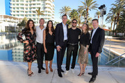 (L-R) Karen Webb, Kai Wiesinger, Bettina Zimmermann, Managing Director ROBINSON Club Bernd Maeser, Ken Duken, Marisa Leonie Bach and Managing Directors ROBINSON Club Tobias Neumann attend the re-opening of ROBINSON Club Jandia Playa on December 04, 2018 in Fuerteventura, Spain.