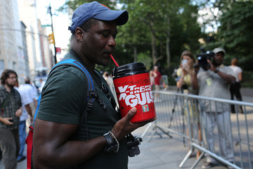 "Eric Moore Opponents Of Restrictions On Sugary Drinks Hold ""Million Gulp March"" In NYC"