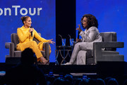Oprah and Jennifer Lopez speak onstage during 'Oprah's 2020 Vision: Your Life in Focus Tour' presented by WW (Weight Watchers Reimagined) at The Forum on February 29, 2020 in Inglewood, California.