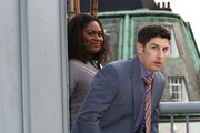 Danielle Brooks and Jason Biggs attend a photocall to launch season 2 of Netflix exclusive series 'Orange Is The New Black' on May 29, 2014 in London, England.