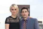 Taylor Schilling and Jason Biggs attend a photocall to launch season 2 of Netflix exclusive series 'Orange Is The New Black' on May 29, 2014 in London, England.