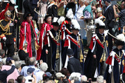 Princess Anne, Princess Royal (Front), Prince Andrew, Duke of York (Center-L) Prince Edward, Earl of Wessex (Center-R), Prince Charles, Prince of Wales (Back-L) and Prince William, Duke of Cambridge (Back-R) march during the Order Of The Garter Service at Windsor Castle on June 18, 2018 in Windsor, England. The Order of the Garter is the senior and oldest British Order of Chivalry, founded by Edward III in 1348. The Garter ceremonial dates from 1948, when formal installation was revived by King George VI for the first time since 1805.